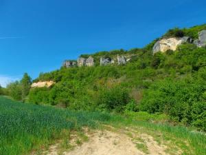El camino se encuentra tras el campo de labranza.